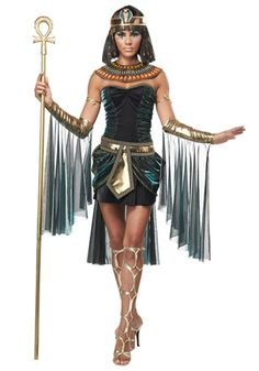 Halloween Costumes For Women - Egyptian Goddess Costume - Did you know that Egyptian pharaohs were considered divine? This Egyptian Goddess Costume will let you look divine! Add sexy gold sandals, a Cleopatra wig, snake armband, ankh staff & jewelry. Then you can order slaves to begin building your very own pyramid!   #womenhalloweencostumes