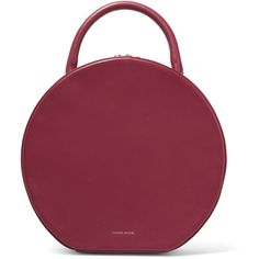 Mansur GavrielCircle Leather Tote (€1.145) ❤ liked on Polyvore featuring bags, handbags, tote bags, mansur gavriel, purses, claret, leather man bags, leather tote handbags, leather handbags and leather purses
