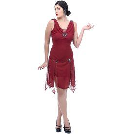 Unique Vintage Burgundy Hemingway Flapper Dress
