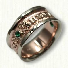 14kt Two Tone Custom Personalized Wedding Band set with (2) Chatham Emeralds Bezel Set - Available In All Metals and Sizes