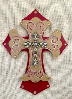 Items similar to Wall cross - Wooden cross - decorative cross - hand painted wooden cross - red home decor - wall decor - red and gold decor on Etsy Wooden Cross Crafts, Wooden Diy, Crosses Decor, Wall Crosses, Painted Wooden Crosses, Hand Painted, Rustic Bathroom Shelves, Cross Hands, Cross Pictures