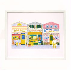 The Printed Peanut - Up My Street Shop Fronts Print, £25.00 (http://www.theprintedpeanut.co.uk/up-my-street-shop-fronts-print/)