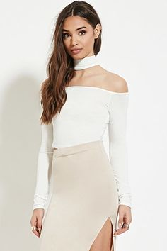 Cutout Mock-Neck Crop Top | Forever 21 - 2000171545