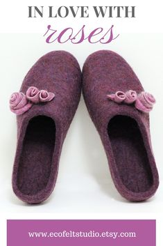 Elegant slippers for women featured with three light pink roses is warm and comfortable footwear handmade from Finnheep wool. Click and save 10% now with coupon code PINTEREST10 Light Pink Rose, Felt Shoes, Felted Slippers, Natural Latex, Wet Felting, Fabric Painting, Womens Slippers, Comfortable Shoes, Pink Roses