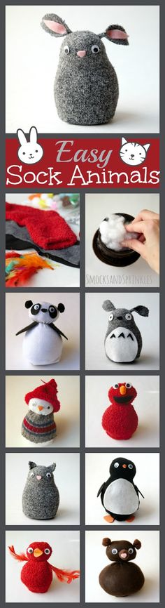 Easy and cute no-sew sock animals