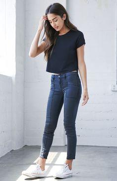 Paneled Mid Rise Skinniest Jeans