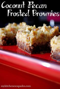 Coconut Pecan Frosted Brownies - My Kitchen Escapades