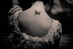 Nape Small Butterfly Tattoo