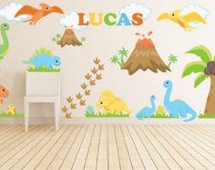 Dinosaurio pared calcomanías - vivero de dinosaurio - nombre pared calcomanías - etiquetas de la pared de la habitación de los niños - niños salón de tatuajes de pared - dinosaurio tema guardería