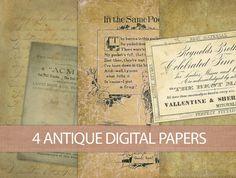 5 Digital Vintage Papers  INSTANT DOWNLOAD  by DIYVintageArt, $2.50