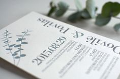 Our studio has designed and letterpress printed two colours - grey and eucalyptus green - luxurious wedding invitation with classical typography. Perfect match!