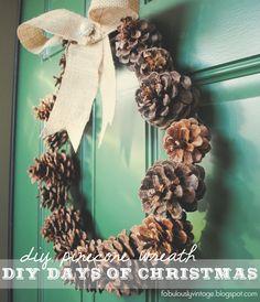 Fabulously Vintage: DIY Pinecone Wreath -- 12 DIY Days of Christmas