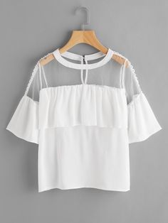 Shop Crochet Mesh Panel Frill Trim Keyhole Back Blouse online. SheIn offers Crochet Mesh Panel Frill Trim Keyhole Back Blouse & more to fit your fashionable needs. Girls Fashion Clothes, Teen Fashion Outfits, Girl Fashion, Girl Outfits, Fashion Dresses, Fashion Design, Cute Swag Outfits, Trendy Outfits, Outing Outfit