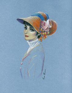 Pastel drawing  Audrey Hepburn My Fair Lady  by sookimstudio, $22.00