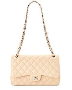 Chanel Beige Quilted Lambskin Jumbo Double Flap Bag