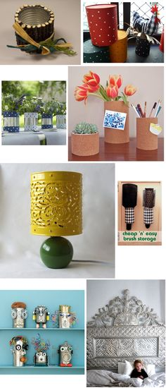 O que fazer com latas... Recycle Cans, Recycling, Ideas Para, Tin, Arts And Crafts, Table Decorations, Canning, Create, House