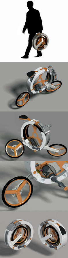 Tech & Gadgets bike compacts into a circle for carry. Concept design motorcycles and futuristic scooters – innovation Cool Technology, Technology Gadgets, Tech Gadgets, Velo Design, Bicycle Design, E Mobility, Intelligent Design, Transportation Design, Cool Bikes