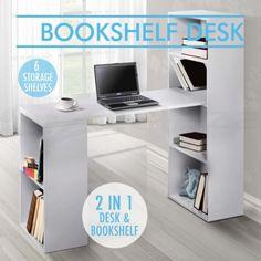 Office-Computer-Desk-Table-6-Storage-Shelf-Bookcase-Student-Study-White