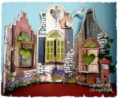 Lijn's scrap&stampin world Diy Paper, Paper Crafts, Window Cards, Fancy Fold Cards, Stencil Diy, Pop Up Cards, Diy Cards, Home Art, Diy And Crafts