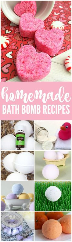 DIY Homemade Bath Bomb Recipes! The perfect gift ideas for Valentine's Day or Mother's Day! Easy Step-by-step tutorials to make your own relaxing baths!