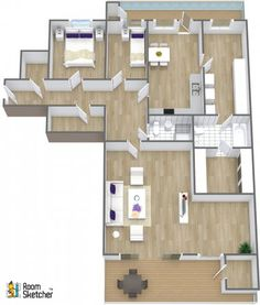 They're not finished with this floor plan -- What room should they design next?  {Purple pillows in brand colors}  http://www.roomsketcher.com/features/homedesigner/  3D floor plan for 2 bathroom home with tile and hardwood floors with aerial view designed in RoomSketcher Business Edition by OBOS eiendomsmerglere  #3DMyHome