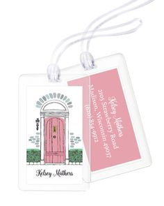 Personalized Pink Door Luggage Tags