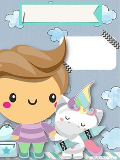 Boy with unicorn Cute Unicorn, Unicorn Party, Birthday Calendar Classroom, Student Name Tags, My Little Pony Invitations, Mermaid Wallpapers, Pre K Activities, Borders For Paper, Kids Board