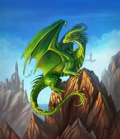 A mythical green dragon poster print where he's perched on a mountain top in front of a blue sky. Fantasy art created by Alvia Alcedo. Dragon Vert, Green Dragon, Mythical Creatures Art, Magical Creatures, Fantasy Kunst, Fantasy Art, Ciel Art, Design Dragon, Tiny Dragon