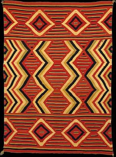Wool, Arizona/New Mexico, USA, c. 69 x 48 in. Navajo woven blanket featuring strongly colored yarn and a vibrant pattern. The Metropolitan Museum of Art. Native American Blanket, Native American Rugs, Native American Artifacts, American Indians, Native Indian, Native Art, Indian Art, Indian Rugs, Navajo Art