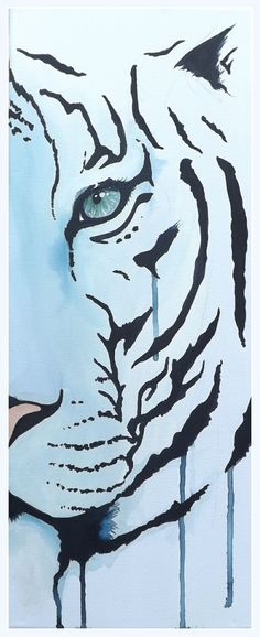 A white tiger looks out from a white background, outlined in acrylic paint in a graffiti style by UK artist Amber Rose O'Sullivan - http://www.amberroseosullivan.co.uk