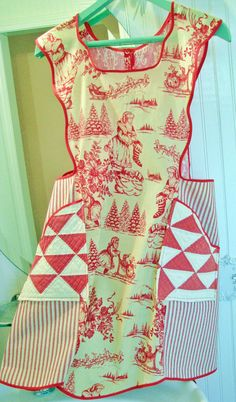 new CHRISTMAS APRON & hotpad set vintage santa TOILE  shabby chic antique quilt cottage xmas. $42.95, via Etsy.