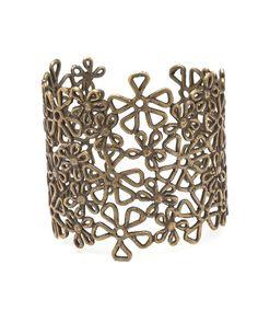 The Oxidized Brass Flower Lace Cuff by JewelMint.com, $185.00