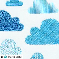 "713 Likes, 5 Comments - Babi Bernardes (@bordados_e_bordadeiras) on Instagram: ""@ohsewbootiful #clouds #samplers #needlework #handembroidery #bordado #broderie #embroidery #ricamo"""