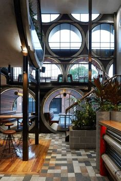 Techné Architects have revamped the Prahan Hotel in Melbourne, Australia by adding an extension that uses oversized concrete pipes.
