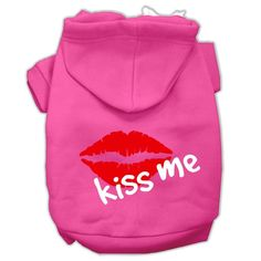 Kiss Me Screen Print Pet Hoodies Bright Pink Size Med (12)
