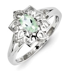 Sterling Silver Green Amethyst Diamond Ring