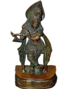 Fluting Krishna Brass Sculpture Hindu Gods Murti Statue Indian Gift Idea