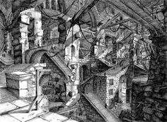 "Elaboration on Piranesi's ""The Gothic Arch,"" Plate XIV, 1761 pen and ink, 26x20"""