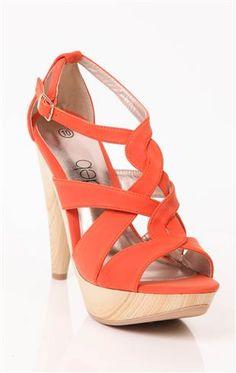 Deb Shops #orange strappy high heel