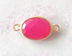 10 Pcs Hot Pink Chalcedony 10X14 mm Oval Shape 24k gold plated Bezel Connector, Bezel Set, Handmade Bezel, Faceted Bezel (OJ04220PJ) by PlantofJewel on Etsy