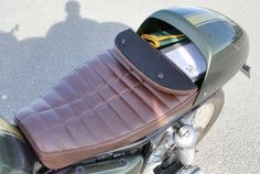"Custom Cafe Racer storage ""glove box"" seats. Wilder FACTORY 