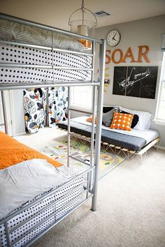 """""""A Definitely, Indisputably Not-Girly Shared Room - Kids' Room Tour"""": My son wants orange walls but I don't. Just showed him this room and he loved it. Great idea to just have orange accents of accessories around the bedroom. Clean Bedroom, Kids Bedroom, Bedroom Ideas, Room Kids, Bedroom Decor, Bedroom Colors, Bedroom Cleaning, Kids Rooms, Design Bedroom"""