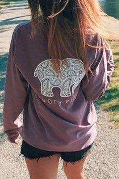 Round Neck Elephant Print Purple T-Shirt