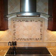 Travertine backsplash design over stove