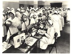 Dental nursing students training in the classroom, United States, 1930s. Pictures of Nursing: The Zwerdling Postcard Collection. National Library of Medicine