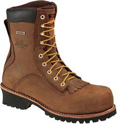 804-3556 Thorogood Men's Waterproof Safety Loggers - Brown