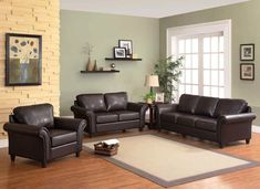 21 Staying Living Room Décor Ideas With Leather Sofa - Page 28 of 54 Brown Couch Living Room, Small Living Rooms, Living Room Sets, Living Room Modern, Living Room Decor, Small Leather Sofa, Small Sofa, Sofa Colors, Paint Colors For Living Room