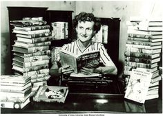 Nancy Drew author Mildred Wirt Benson among her books, Toledo, 1949 | Mildred Wirt Benson Collection | Iowa Digital Library