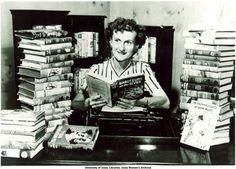 Nancy Drew author Mildred Wirt Benson among her books, Toledo, 1949 | Mildred Wirt Benson Collection