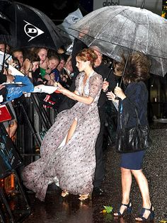 Emma Watson At the London premiere of Harry Potter and the Half Blood Prince, the actress' dress blew to the side to expose her underwear while signing autographs for fans in rainy weather on July 7, 2009.   Read more: http://www.usmagazine.com/celebrity-style/pictures/celebrity-wardrobe-malfunctions-marilyn-monroe-moments-2013711/33778#ixzz2kfW0g7sW  Follow us: @Us Weekly on Twitter | usweekly on Facebook